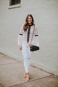Bell Sleeve Crochet Top, lace top, black and white top, chicwish top, white distressed skinny jeans, dolce vita studded sandals, studded heels, rebecca minkoff love crossbody bag, spring fashion, spring white, spring style // grace wainwright a southern drawl