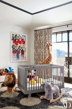 In the Kourtney Kardashian's California home, Kardashian's son Reign's room features ikat curtains and a shag carpet | archdigest.com