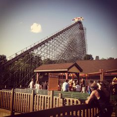 holiday world in Santa Claus, Indiana, 3 giant scary wood roller coasters