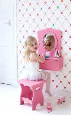 DIY little girls vanity :) Girls Bedroom, Bedroom Decor, Bedroom Ideas, Small Bedrooms, Bedroom Furniture, Girls Vanity, Little Girl Rooms, Kids Furniture, Diy For Kids