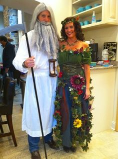 couple's Halloween costume idea - father time and mother earth