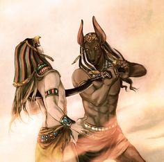 Mythology - Egyptian, Anubis stabbing another God. Ra?