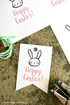 Printable easter gift tags and gift wrap from easter wraps and gift free printable hoppy easter gift tags negle Choice Image