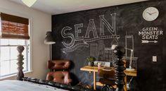 Gavin's Project   interior design by @sabbespot / chalkboard art by @poshandprep #chalkboard #art #handlettering #roomtodreamfoundation