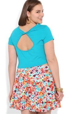 Deb Shops Plus Size Short Sleeve Crop Top with Twist Back $6.54