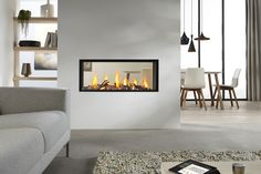 Exclusive double sided fireplace design ideas in modern home interiors : Modern Home Contemporary Double Sided Fireplace Living Room Dining Room Home Fireplace, Home, Modern Room Divider, Living Dining Room, Fireplace Design, Living Room With Fireplace, Living Room Designs, Modern Room, Room Design
