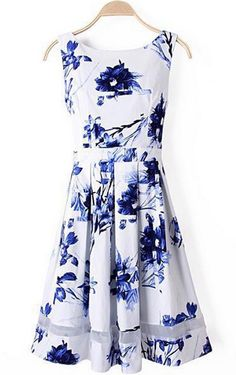 Blue and White Floral Dress