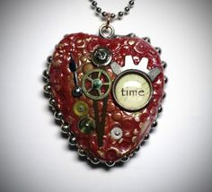 Heart Time steampunk pendant by Patricia Krauchune made with Makin's Clay® no bake, air dry polymer clay - http://www.makinsclayblog.blogspot.com/2015/07/heart-time-steampunk-pendant-by.html