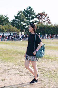 Japanese Fashion Blogger,Mizuho K,OOTD,Outfit of the ONE OK ROCK LIVE in Nagisaen,SheIn_Black_tee,ZARA_Black&White Leopard harf pants,Nike SNEAKERS,KANKEN BACKPACK,I LIKE PAPAERCASUAL STYLE
