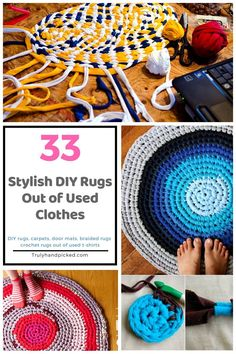 33 modish diy rugs: rugs / carpet mats out of old clothes (t shirts) Shirt Makeover, Recycle Old Clothes, Diy Clothes, Upcycling T Shirts, Diy Kleidung Upcycling, Shirt Diy, Crochet Carpet, Sewing Shirts, Diy Carpet