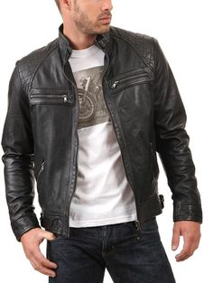 Leather4u KL738 Veste en cuir homme, peau d'agneau Cuir - Noir: Amazon.fr: Vêtements et accessoires