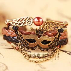 Retro handwoven bracelets Venetian bronze mask wax by GiftShow, $6.99 Fashion handmade leather bracelet crafted personality,best friendship gift.
