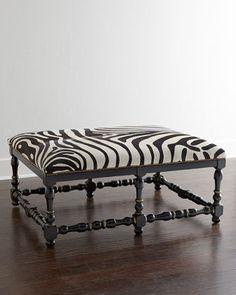 Zebra-Print Hairhide Bench. Wild Prints We Love at Design Connection, Inc. | Kansas City Interior Design http://www.DesignConnectionInc.com/Blog #InteriorDesign
