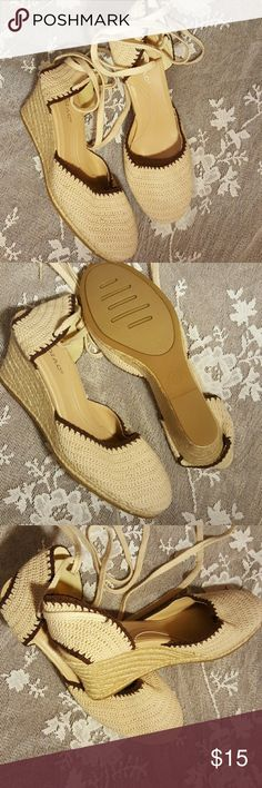 """Khaki Crochet Espardilles Beautiful crocheted khaki with brown detail and open heel.  3"""" wedge heel. Long ankle/leg ties which always look sexy! Never worn. Size 7.5. NWOT.  Smokefree & petfree home. Zodiac Shoes"""