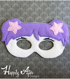 Mermaid Pigtails Girl Mask ITH Embroidery Design Felt Mask Embroidery Designs