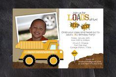 Printable Dump Truck Birthday Party Invitation. $10.00, via Etsy.