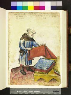 Cloth merchant measuring fabric. Amb 317.2 ° folio 71 recto. Die Hausbucher der Nurnberger Zwolfbruderstiftungen.  c. 1425. German