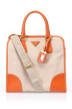 Prada Canapa and Saffiano Shopper Handbag in Corda and Papaya - Beyond the Rack
