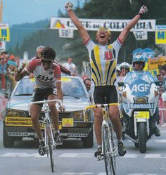Laurant Fignon beats Fuerte at the line of the summit finish of La Plagne during de 21st stage of the 1987 Tour de France. It was his second Tour de France stage win at this litlle mountain village because he had won there before in 1984.