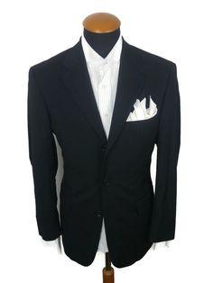 Hugo BOSS Mens Black Blazer size 40R SLIM Wool Sport Coat Suit Jacket gr. 50