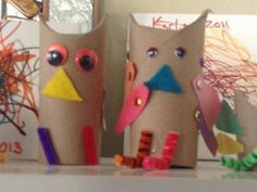 I'm a big fan of using recycled materials for craft projects with kids. It teaches them at a young age to think outside the box and find uses for things that might otherwise simply get discarded.For this craft, we used toilet paper rolls and various scraps of paper to make owls. The kids had a hoot decorating the owls however they liked. At first I was a little nervous they wouldn't be seen as owls to anyone but our family, but once we put on some googly eyes and orange beaks, each…