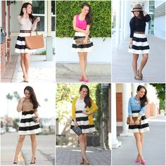 How to wear a striped skirt 6 different ways // http://www.stylishpetite.com/2015/04/classic-combo-chambray-and-stripes.html
