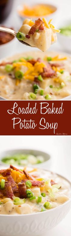one pot loaded baked potato soup - creamy, rich and filling - the perfect comfort food (Soup And Sandwich Recipes) Crock Pot Recipes, Slow Cooker Recipes, New Recipes, Soup Recipes, Cooking Recipes, Budget Cooking, Recipes Dinner, Potato Recipes, Chowder Recipes