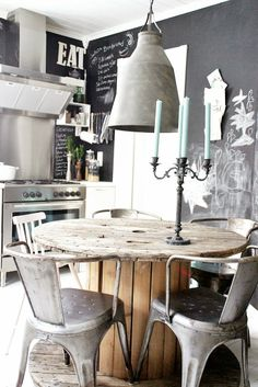 Industrial Style Loft with charming elements to add to your home decor. A breath of fresh air into your industrial style loft. In an industrial style world, the interior design project of today will m Industrial Kitchen Design, Industrial Dining, Industrial House, Industrial Interiors, Rustic Kitchen, Vintage Industrial, Modern Industrial, Industrial Kitchens, Industrial Industry