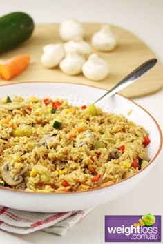 Healthy Dinner Recipes: Vegetarian Fried Rice. #HealthyRecipes #DietRecipes #WeightlossRecipes weightloss.com.au