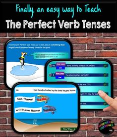 PowerPoint on the Perfect Verb Tenses with easy-to-understand examples, interactive quizzes, and a printable follow-up assessment with a teacher answer key. Works on PC or Mac. Present Perfect, Past Perfect, and Future Perfect are covered. (Meets Common Core Standards L.5.1b, 1c, and 1d).