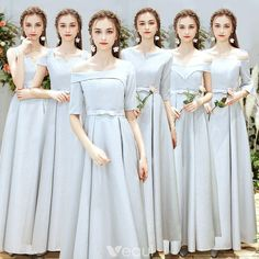 Chic / Beautiful Silver Bridesmaid Dresses 2019 A-Line / Princess Bow Sash Floor-Length / Long Ruffle Backless Wedding Party Dresses Silver Bridesmaid Dresses, Bridesmaids, Off Shoulder Gown, Wedding Party Dresses, Long Dress Party, Chiffon, Backless Wedding, Homecoming Dresses, Bridal Gowns