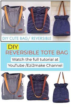 Diy Bags Jeans, Diy Bags Purses, Easy Tote Bag Pattern Free, Free Pattern, Wallet Pattern, Reversible Tote Bag, Diy Tote Bag, Diy Jeans Bag Tutorial, Clutch Tutorial