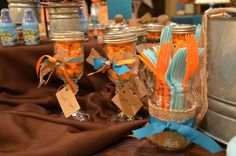 """Photo 1 of 27: Orange and Turquoise / Baby Shower/Sip & See """"Ashley Jolly's """"Things that POP!"""" """"   Catch My Party"""