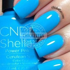quenalbertini: Cerulean Blue by CND Shellac - Paradise Collection Summer 2014 Blue Shellac Nails, Shellac Nail Colors, Cnd Nails, Gel Nail, Manicures, Perfect Nails, Gorgeous Nails, Pretty Nails, Vernis Semi Permanent