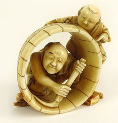 """Well Done Antique Japanese Ivory Netsuke. """"Barrel Makers"""" Unsigned. Good Condition. Measures 2 Inches Tall."""