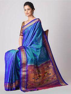 Blue Paithani Silk Saree with Zari Saree 2017, Purple Saree, Traditional Silk Saree, Green And Purple, Blue, Woman Clothing, Indian Wear, Silk Sarees, Sari