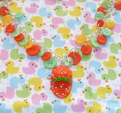 Strawberry Slipper Button Charm Necklace by NiNEFRUiTSPiE on Etsy, £5.50