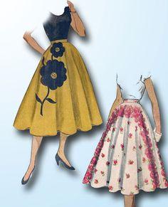 1950s Vintage Simplicity Sewing Pattern 3560 Uncut Misses' Applique Skirt 24 W