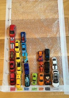 Car Graphing on a Bubble Wrap Road - very simple to prepare math activity with cars.