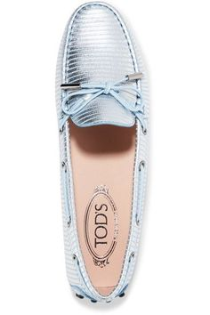 Tod's - Metallic-striped Leather Loafers - Blue - IT37.5
