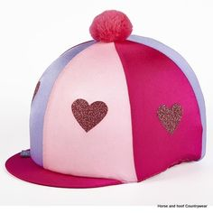 Capz Lycra Glitter Hearts with pom-pom The glitter hearts are heat pressed on the cap and are washable One size fits