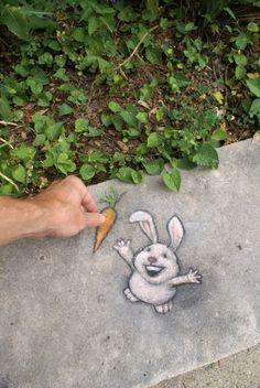 David Zinn encourages generosity to the dimensionally challenged. Chalk street art.