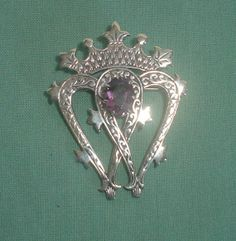 Sterling silver Luckenbooth brooch with amethyst Scottish Celtic vintage