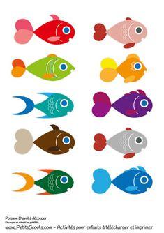 10 Poissons d'avril à imprimer pour enfants. C'est l'activité phare du 1er avril. Voici des poissons d'avril à imprimer, colorier et découper pour les coller partout.