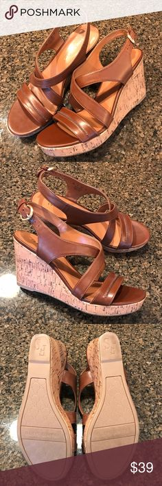 Franco Sarto Tan Wedge Sandals Franco Sarto wedge sandals. Super fun for spring and summer outfits. Man made material. Cork wedges. Slight wear on soles, sadly a 1/2 size too small for me. Franco Sarto Shoes Wedges