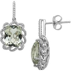 Lord & Taylor Sterling Silver Green  and Diamond Earrings ($700) ❤ liked on Polyvore featuring jewelry, earrings, amethyst, druzy jewelry, sterling silver diamond jewelry, green earrings, green diamond earrings and sterling silver jewelry