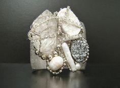 Genuine Silver Leaf Metal Cuff  Silver Cuff with by SharonaNissan, $180.00