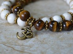 Brown and white bracelet stack Zen Om charm Boho by IAmMineJewelry