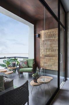Modern balcony with stylish seating, ideas for balcony design, covered … - Diy Möbel Interior Balcony, Bedroom Balcony, Apartment Balcony Decorating, Apartment Balconies, Home Interior Design, Interior Decorating, Modern Balcony, Small Balcony Decor, Outdoor Balcony