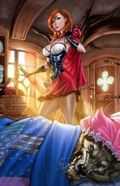 More colors finishing up some works in progress. Pencils: J Scott Campbell Inks: J-Skipper Colors:me Little Red Riding Hood Colors Dark Fantasy Art, Fantasy Girl, Sexy Cartoons, Comic Books Art, Comic Art, Konosuba Anime, J Scott Campbell, Fairytale Fantasies, Grimm Fairy Tales